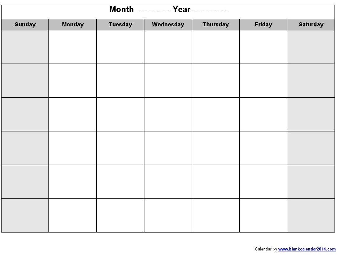 Monday To Friday Blank Calendar | Example Calendar Printable Sunday Through Saturday Template