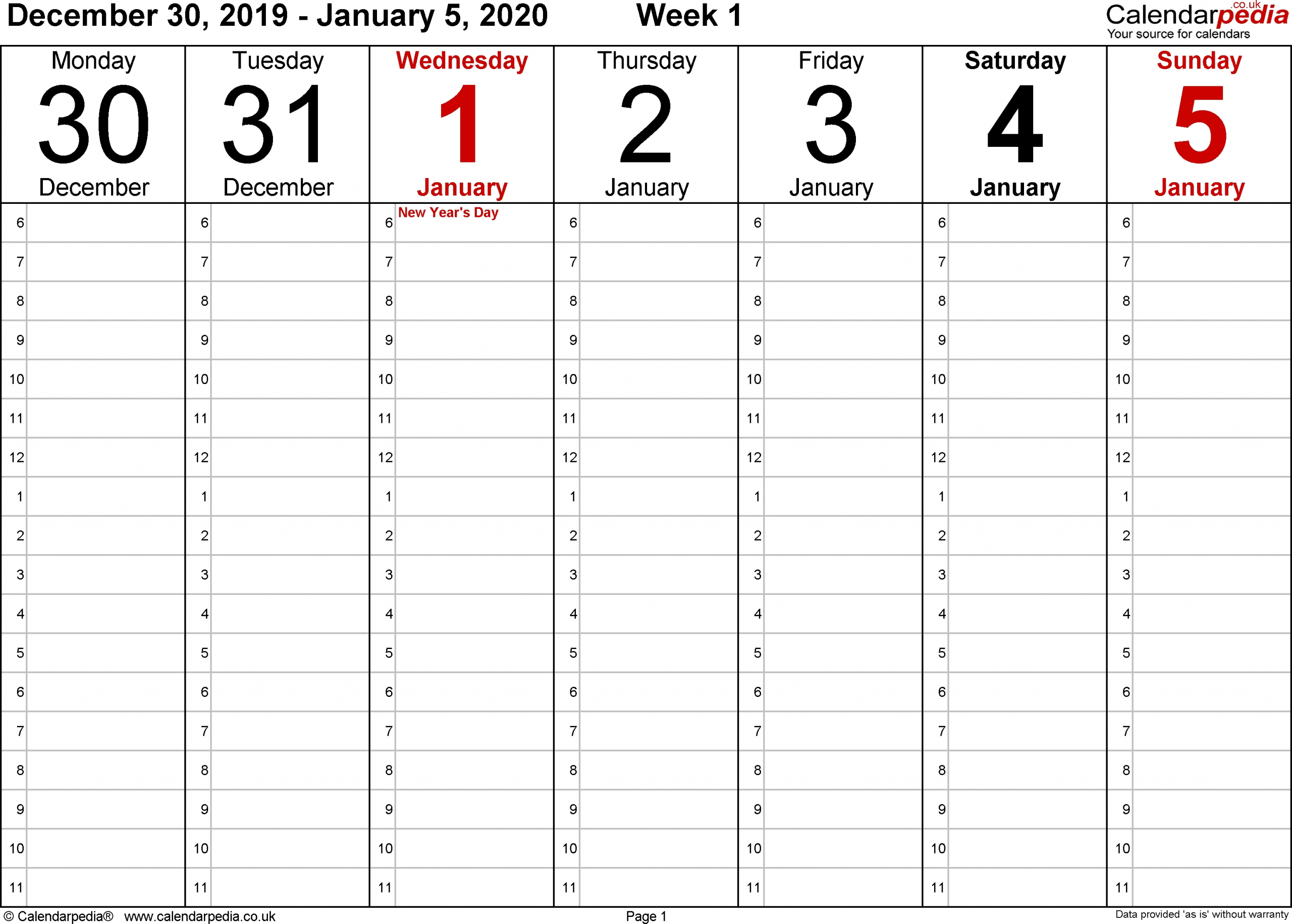 Monday To Friday Planner Templates 2020 | Calendar Free Monday To Friday Downloadable Calendar
