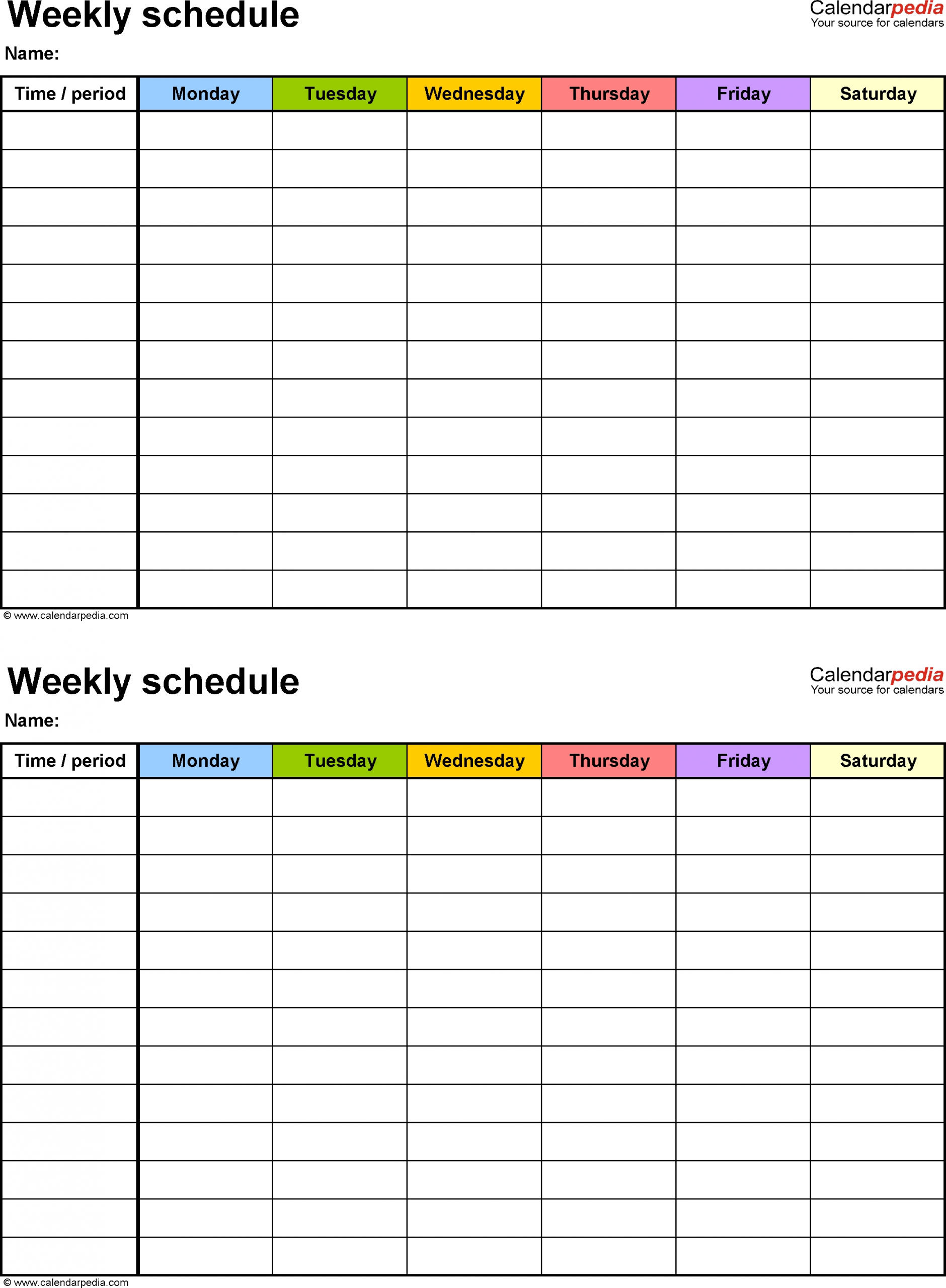 Monday To Friday Schedule Template – Calendar Inspiration Calendar Template Monday To Friday