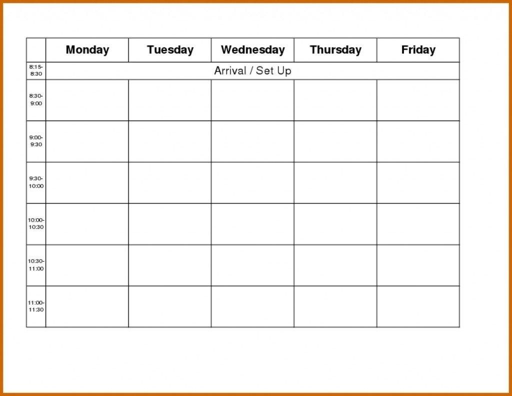 Monday To Friday Schedule Template | Example Calendar Blank Calendar Grid Moday Friday