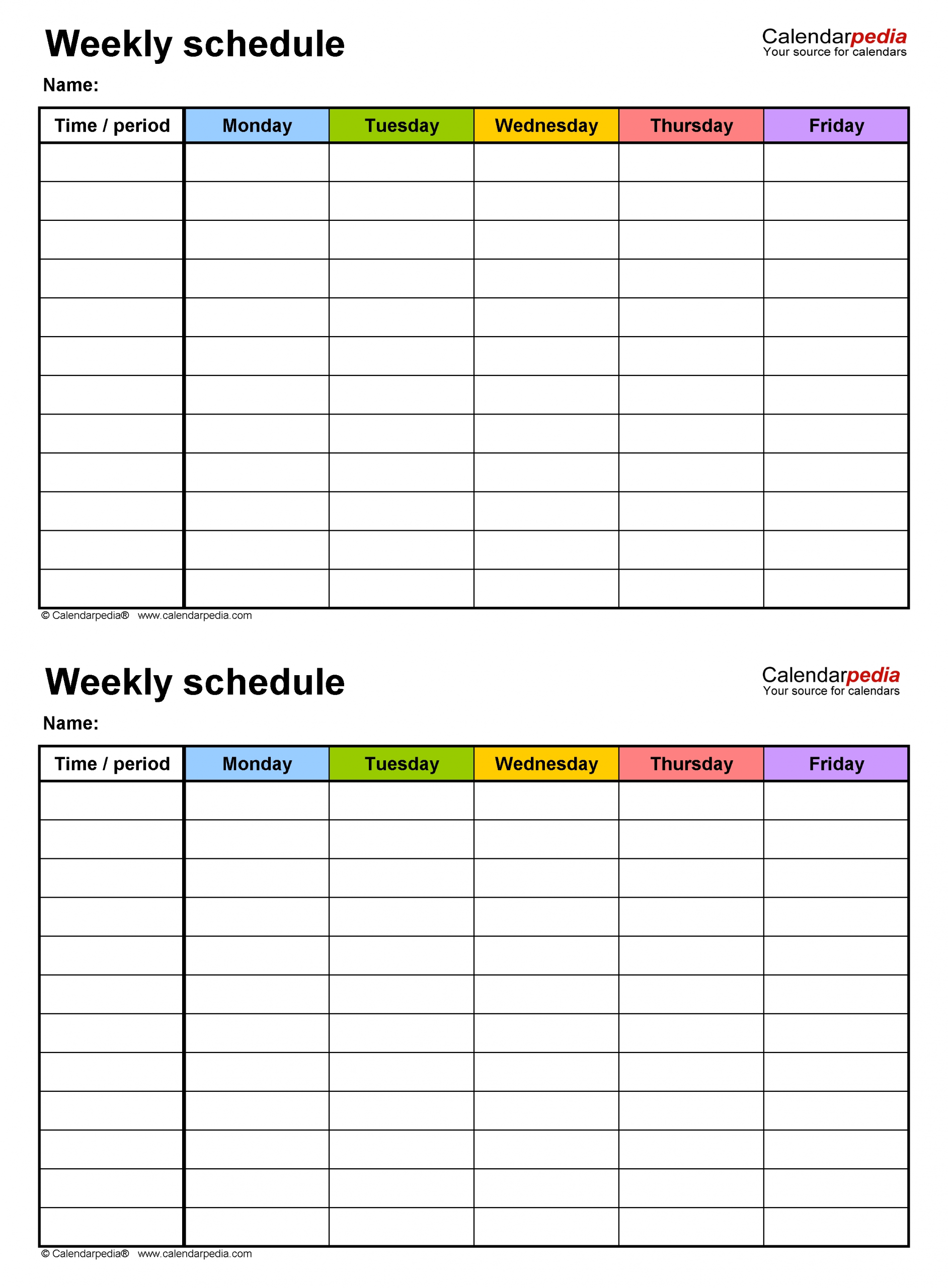 Monday To Friday Timetable Template   Calendar Template Free Printable Weekly Schedule Monday Fridays