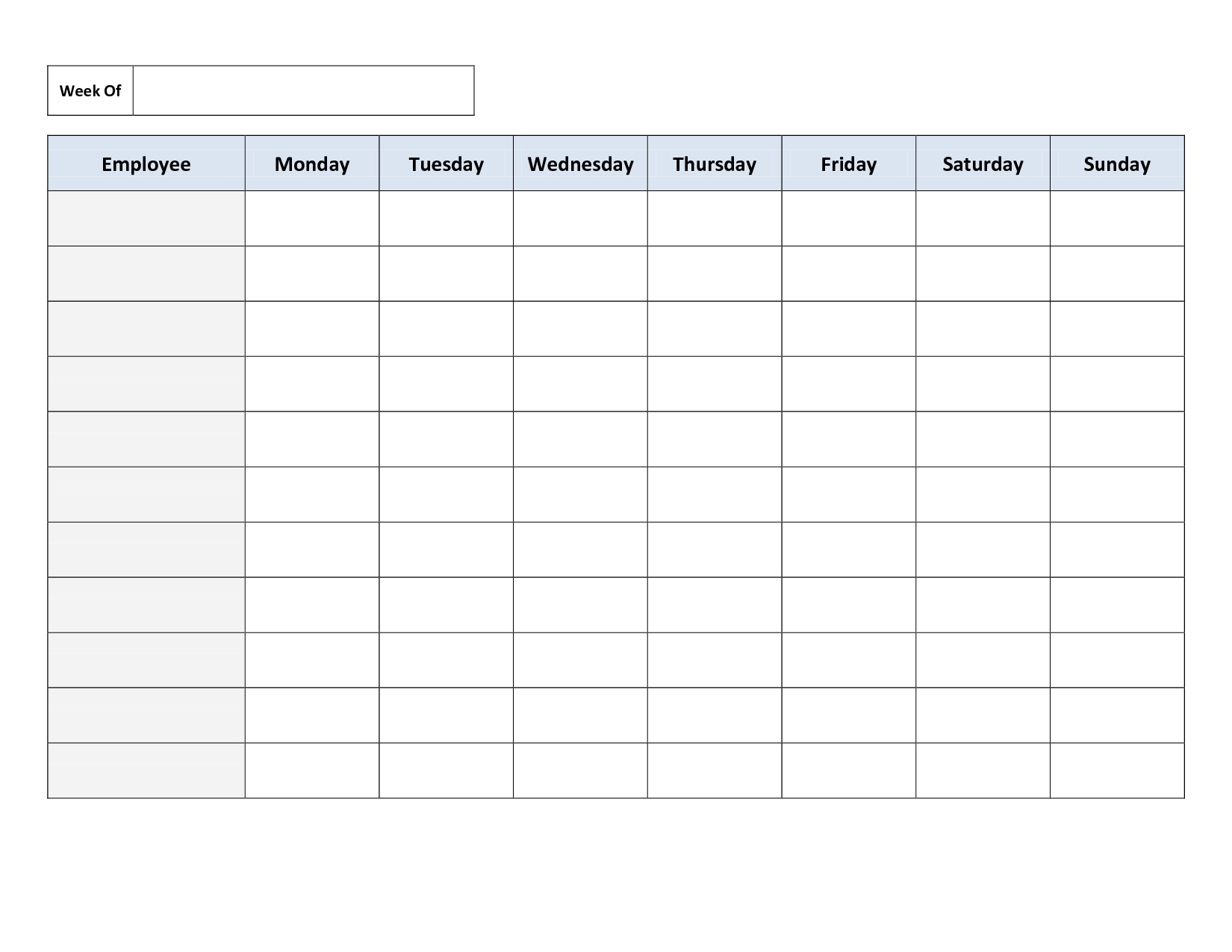 Monday To Friday Timetable Template | Calendar Template Monday To Friday Blank Week Schedule