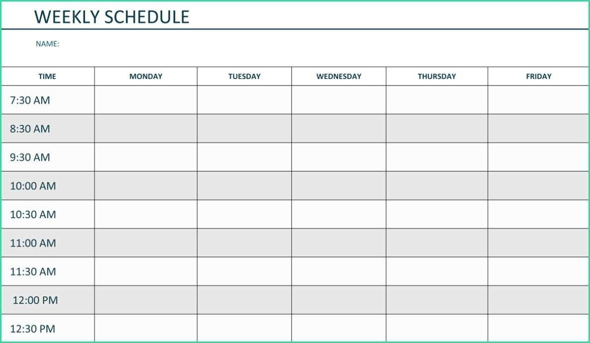 Monday To Friday Word Template   Calendar Template Printable Monday To Friday Template Download