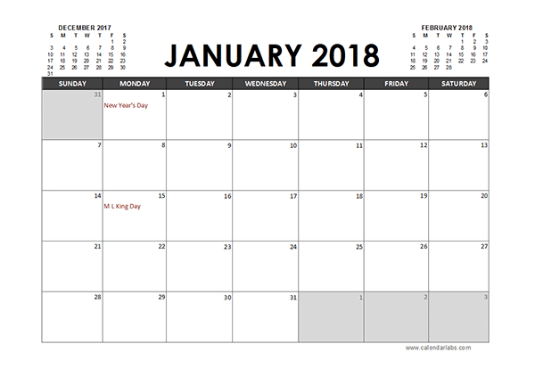 Monthly 2018 Excel Calendar Planner – Free Printable Templates Calendars I Can Edit