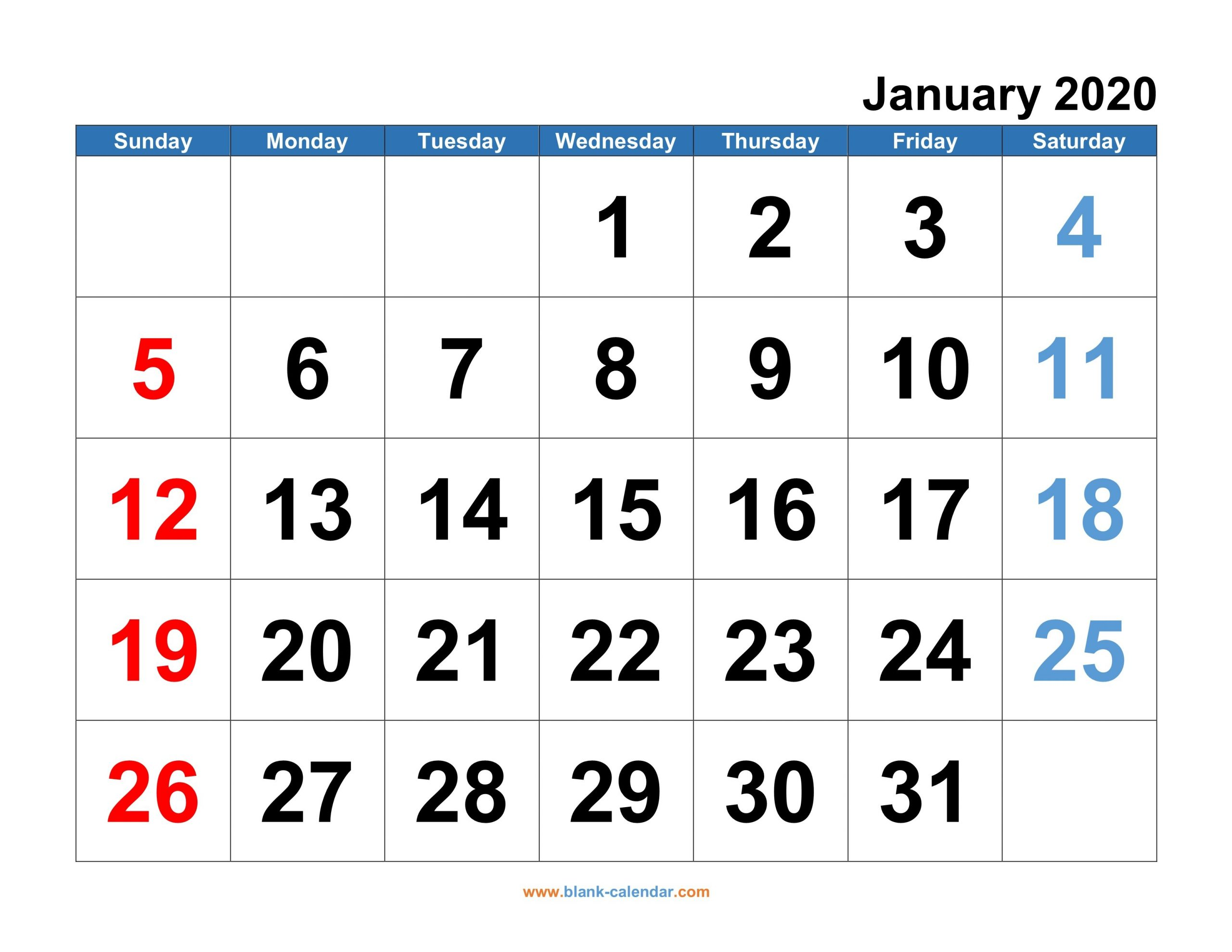 Monthly Calendar 2020   Free Download, Editable And Printable Monthly Calendars You Can Edit