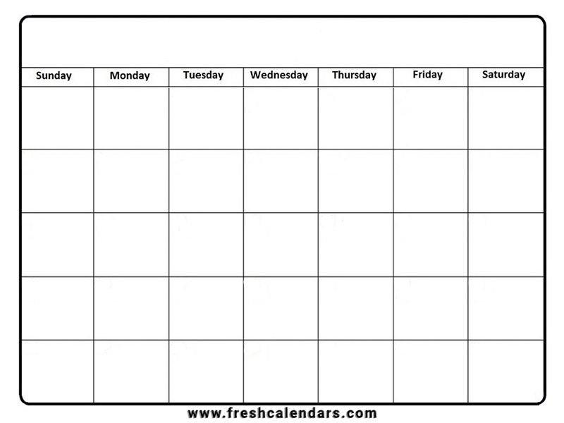 Monthly Calendar Blank Template Free Blank Printable Monthly Calendar Pdf