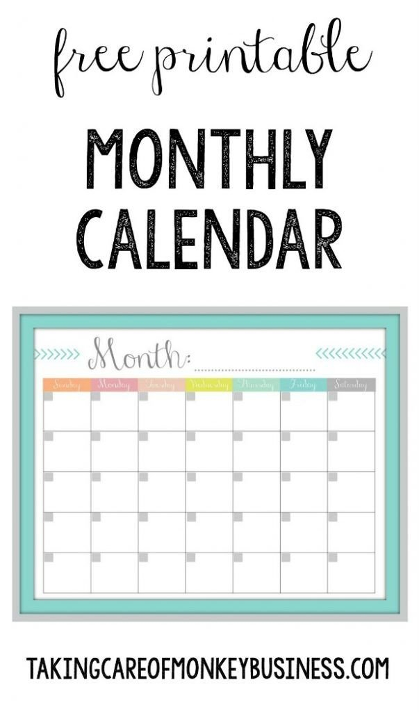 Monthly Calendar {Free Printable} | Monthly Calendar, Free Free Printable Due Date Calendar