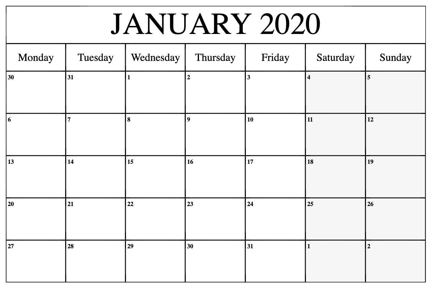 Monthly Calendar Monday To Friday | Calendar Template Monday To Friday Calendar Printable