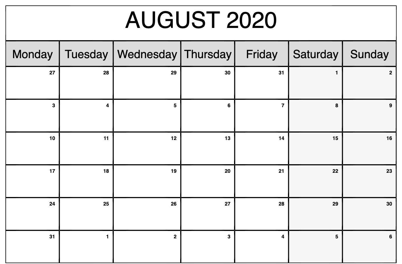 Monthly Calendar Monday To Friday | Calendar Template Monthly Mon Friday Calendar