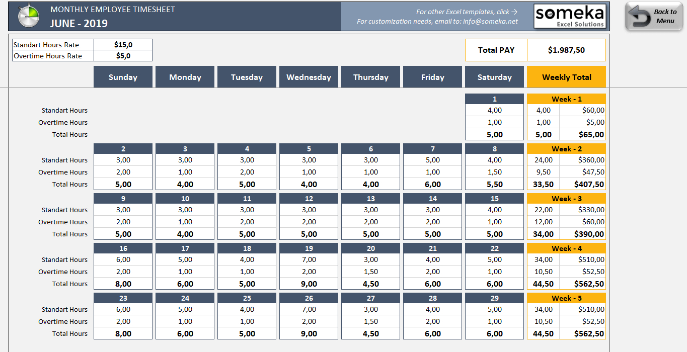 Monthly Employee Timesheet – Free And Printable Excel Template Excel Time Off Tracking Calander