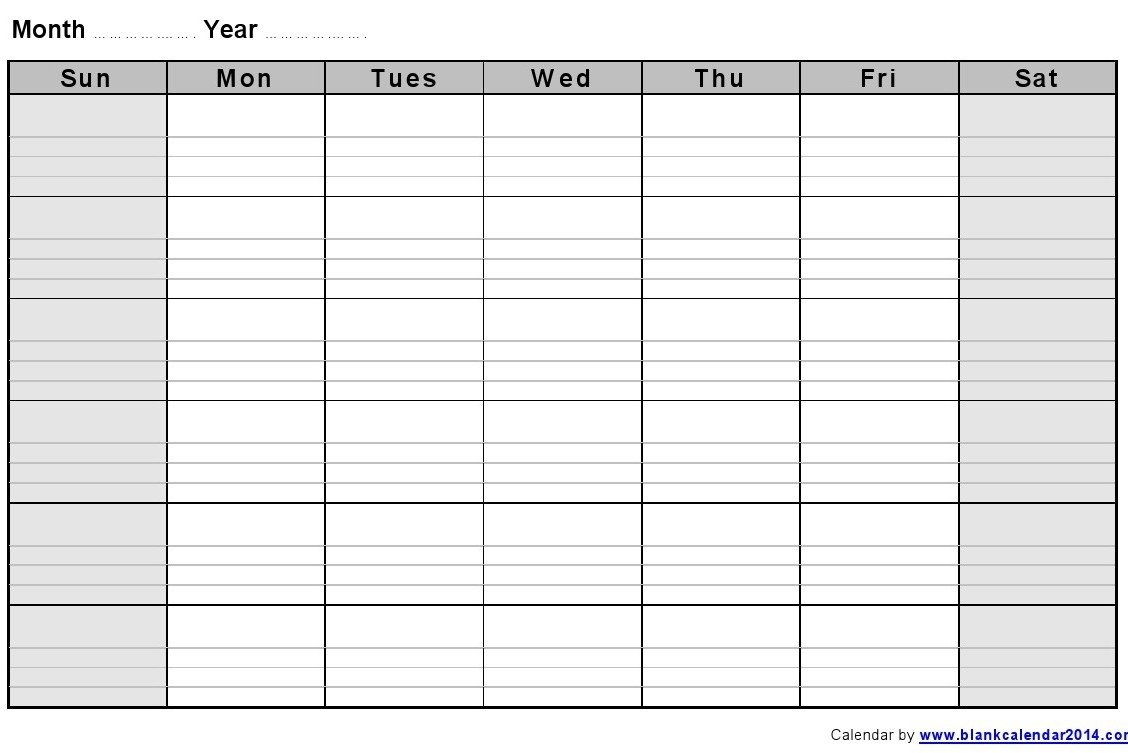 Monthly Empty Calendar To Fill In : Free Calendar Template Calendar Fill In Template