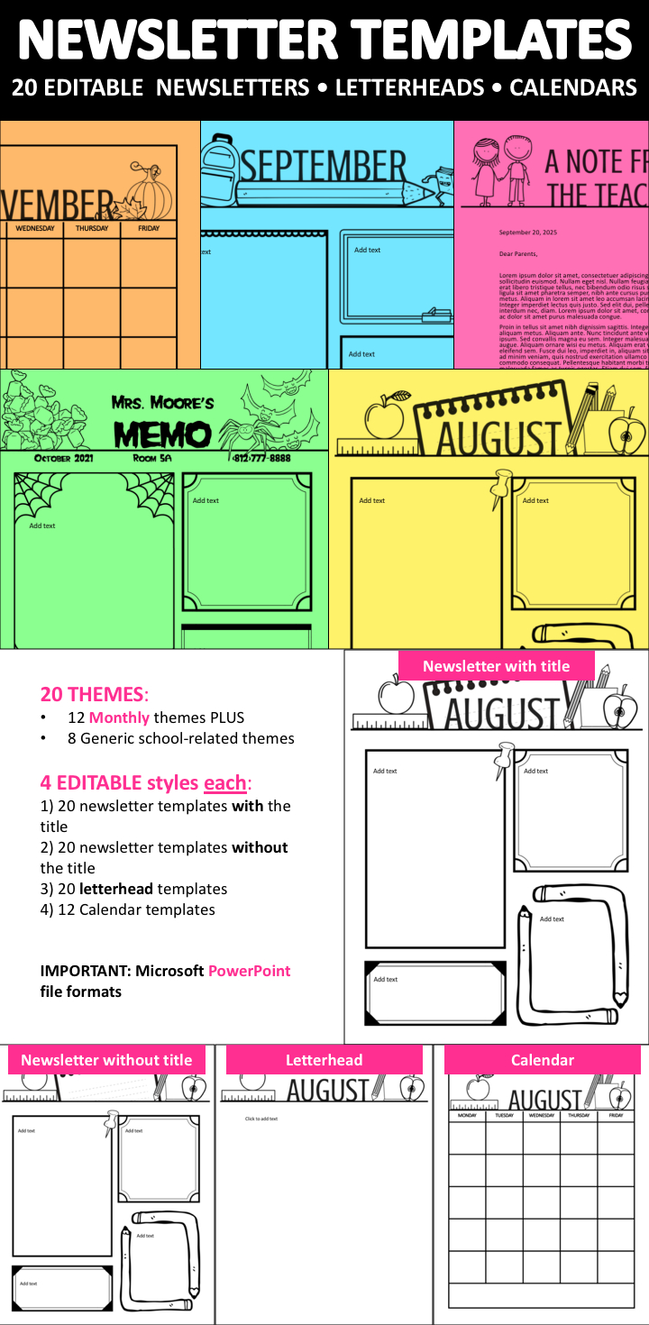 Monthly Newsletter Templates Editable Plus Letterheads And Free Monthly Calendar Template For Church Newsletter