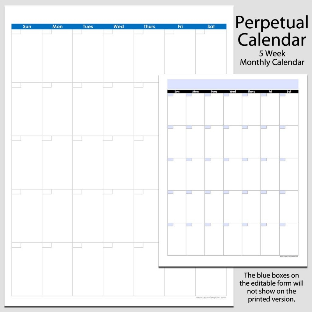 Monthly Perpetual Calendar In Portrait – 8 1/2″ X 11 8 1/2 By 11 Inch Monthly Calendar