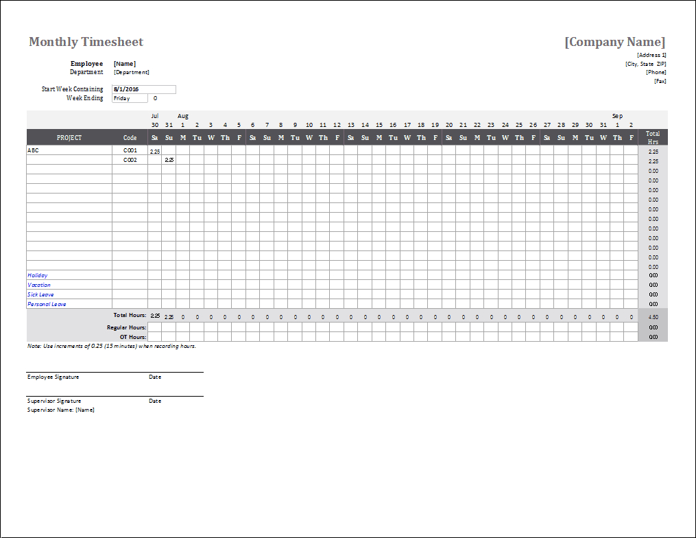 Monthly Timesheet Template For Excel And Google Sheets Example Of Editable Payroll Calendar