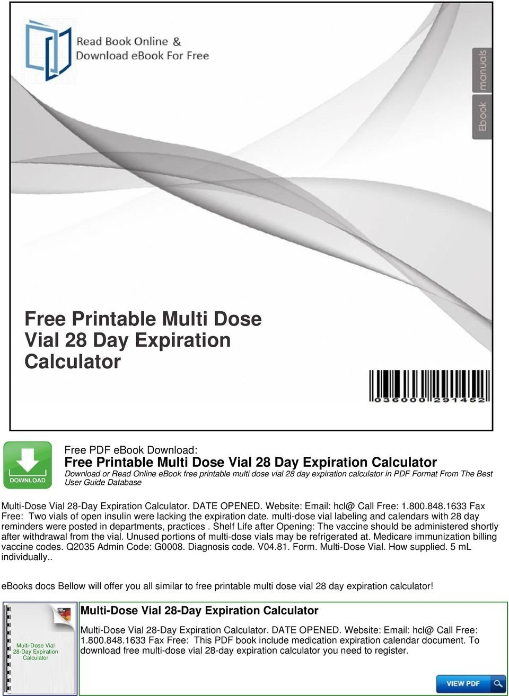 Multi Dose Vial Expiration Calendar   Calendar Template 2020 28 Day Expiration Calendar