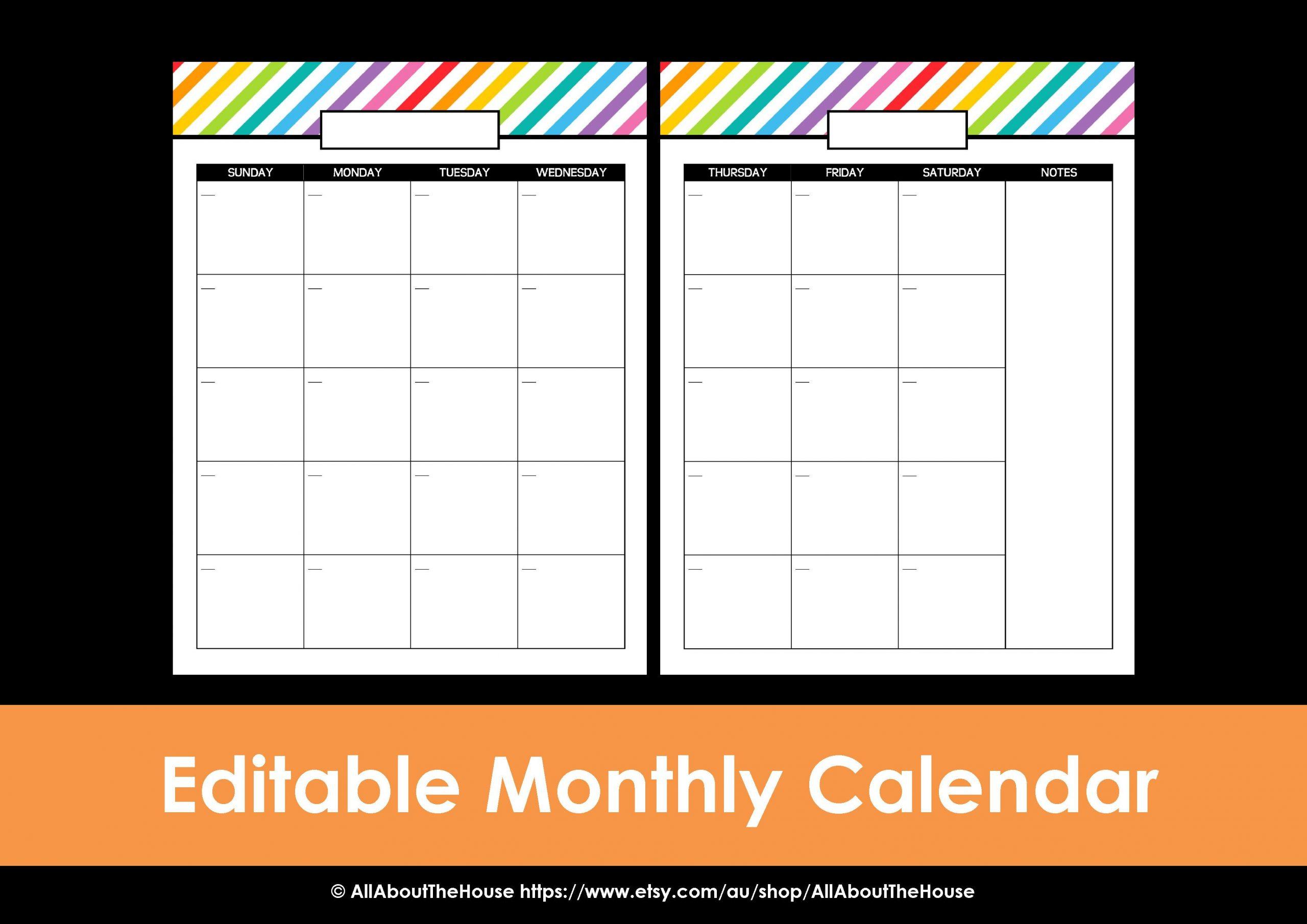 My 2015 Printable Rainbow Daily Planner Free Editable Monthly Calendar Teachers