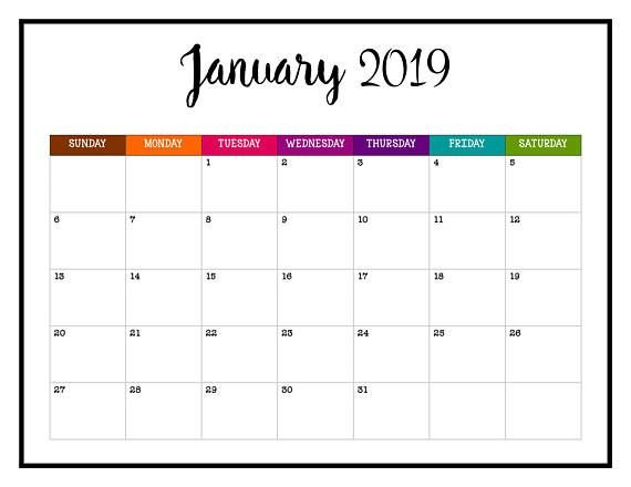 Never Miss An Appointment In 2019 With This Brightly Calendear That I Can Edit With Holidays On It