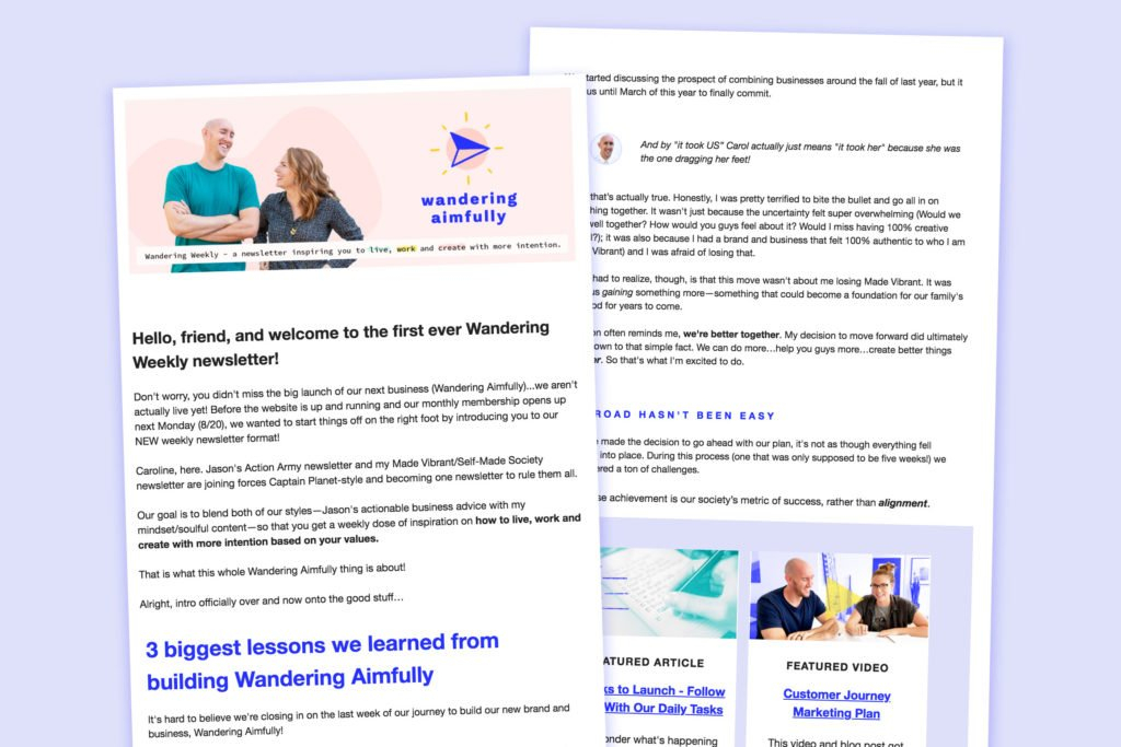 Newsletter Example – Wandering Aimfully Content Calendar For Member Newsletters