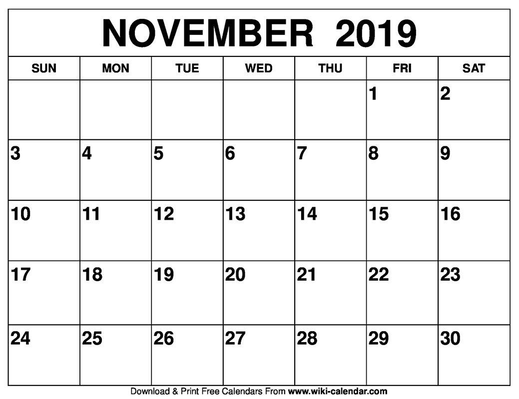 November 2019 Printable Calendar – Free Blank Templates Empty Monday Through Sunday Schedule