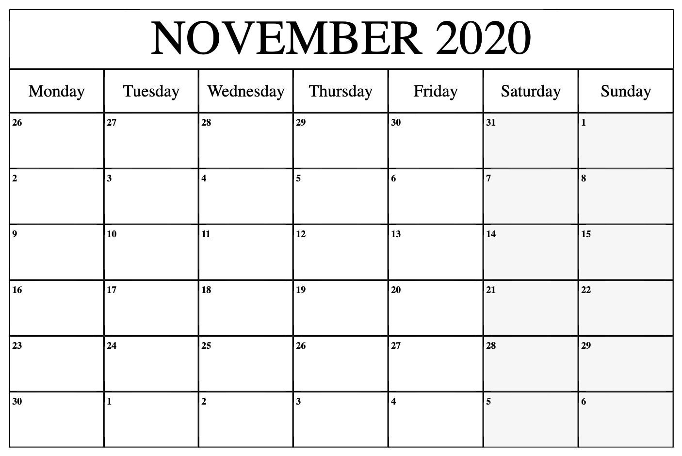 November 2020 Calendar Pdf, Word, Excel Template Calendear That I Can Edit With Holidays On It