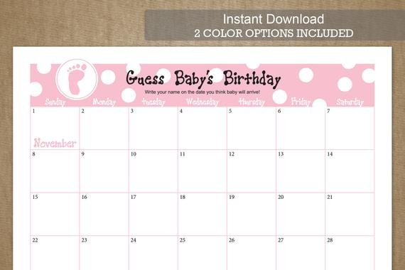 November Due Date Guess Baby'S Birthdayjackaroodesigningco Guess The Baby Due Date Elephant Calendar