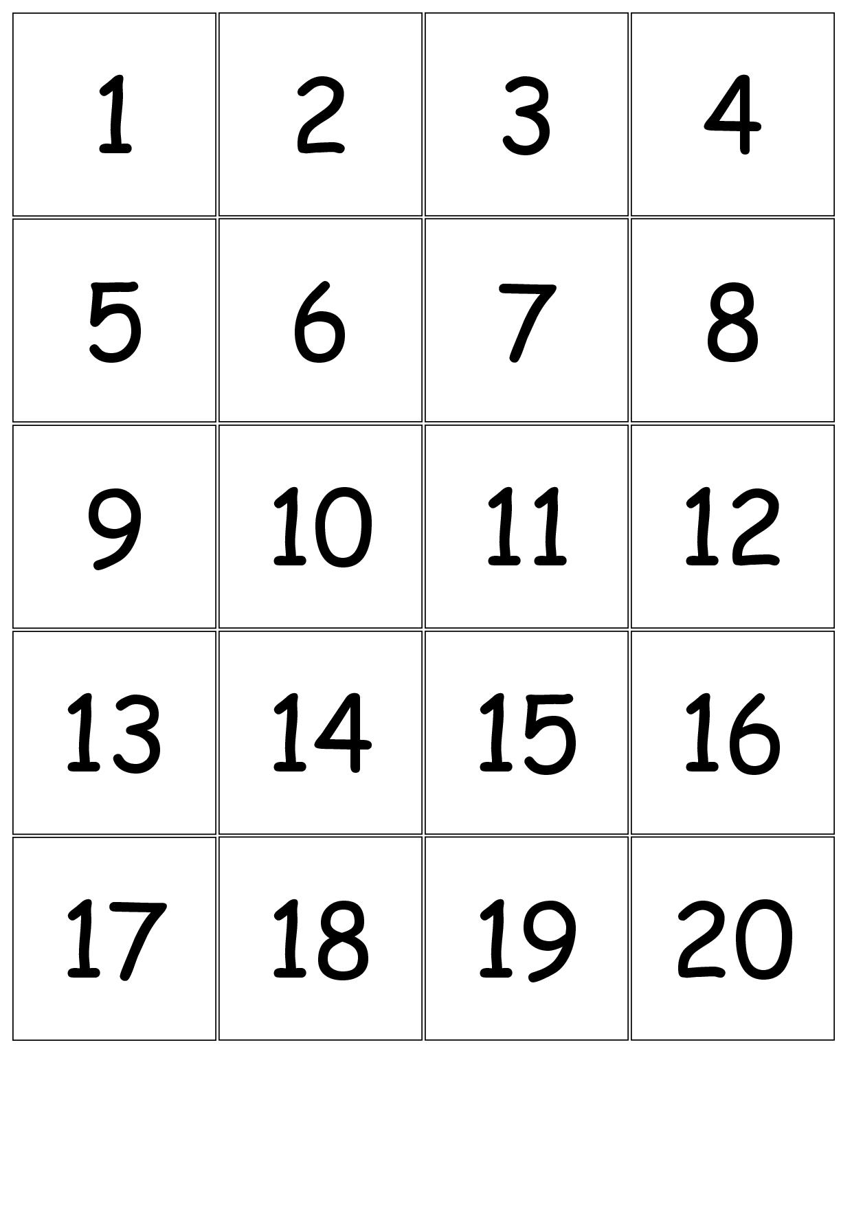 Number+Cards+1 20 | Printable Numbers, Number Cards Print Numbers 1 To 31