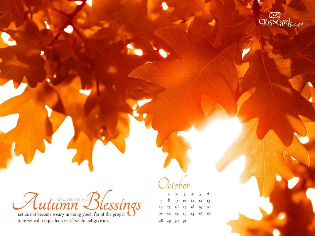 Oct 2012 – Autumn Blessings | October Wallpaper, Calendar Download Crosscards Monthly Calendar For Computer Background