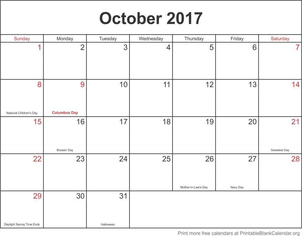 October 2017 Free Printable Calendar – Printable Blank Calendar Fill In Template