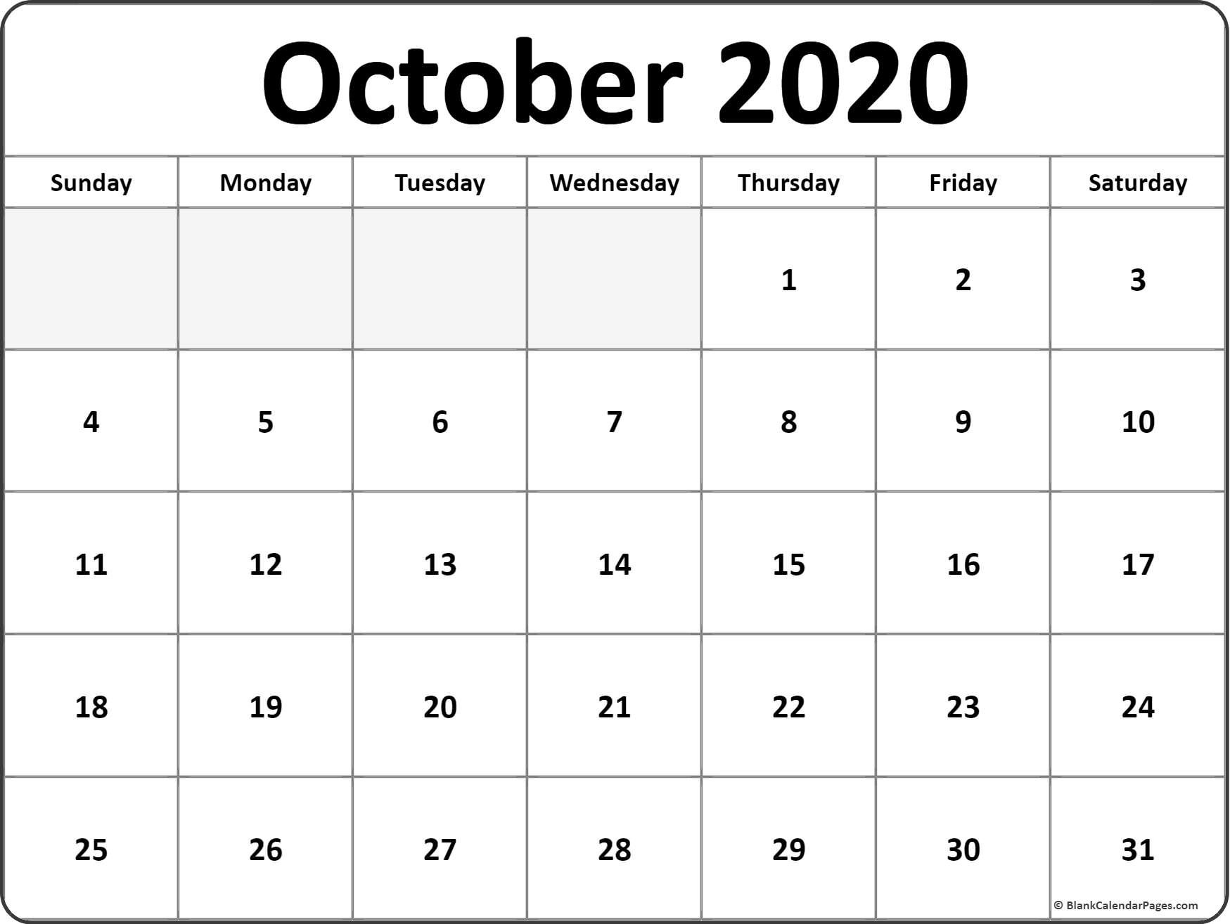 October 2020 Calendar   Free Printable Monthly Calendars Free Blank Printable Monthly Calendar Pdf