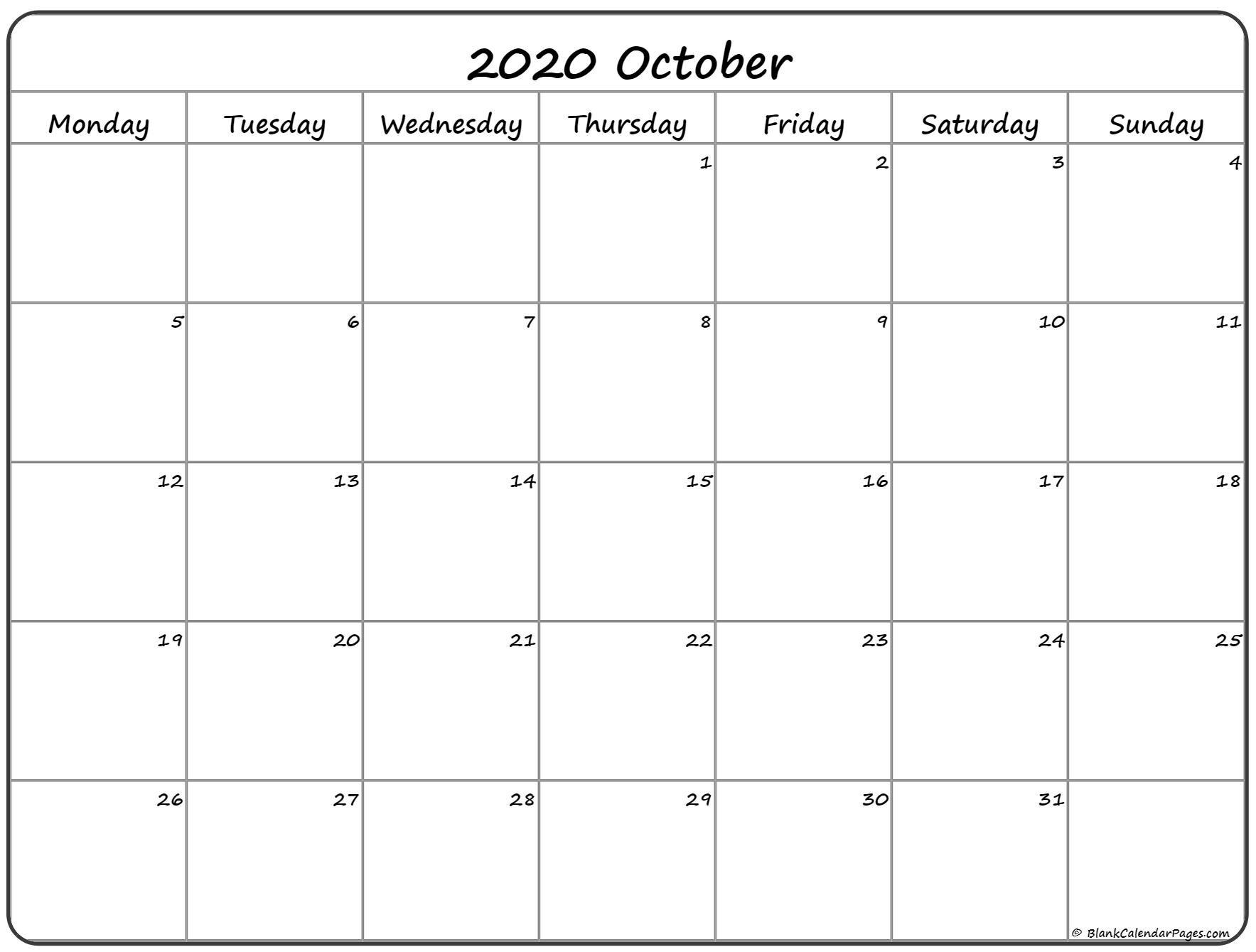 October 2020 Monday Calendar | Monday To Sunday Free Printable Monday Thru Sunday Calendars