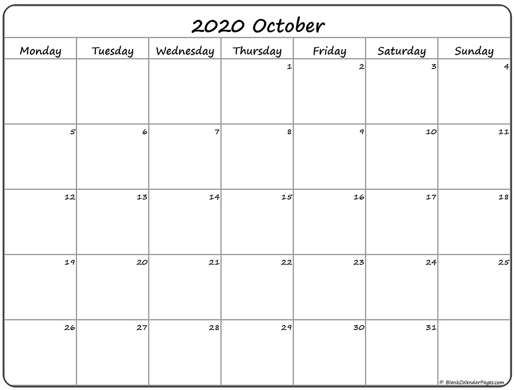 October 2020 Monday Calendar   Monday To Sunday Monday Through Sunday Planner