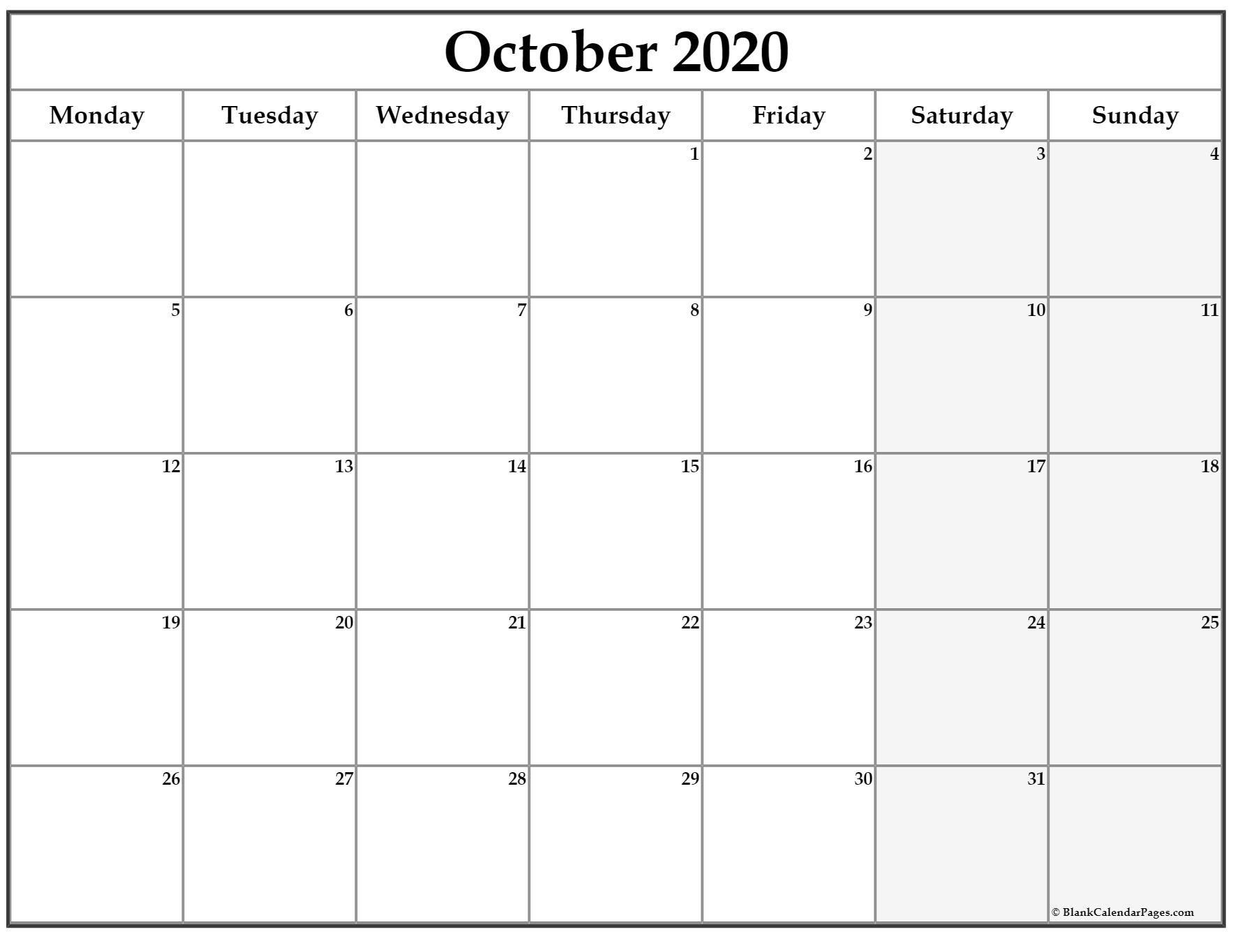 October 2020 Monday Calendar | Monday To Sunday Saturday Thur Friday Schedule
