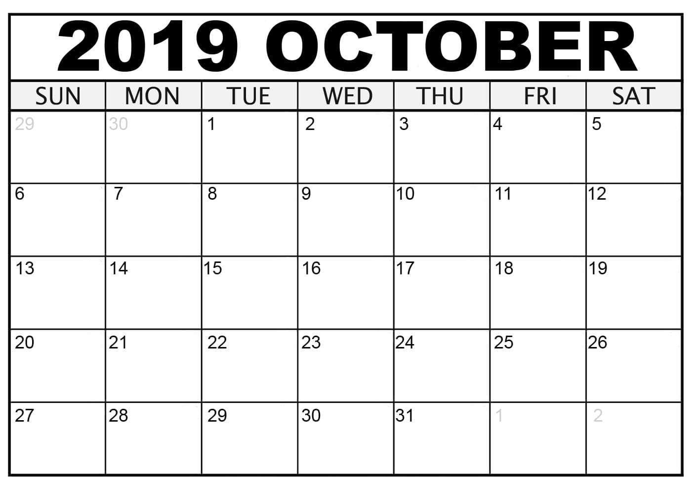 October Calendar 2019 Mon – Fri   Calendar Template Free Printable Calendar Mon To Fri