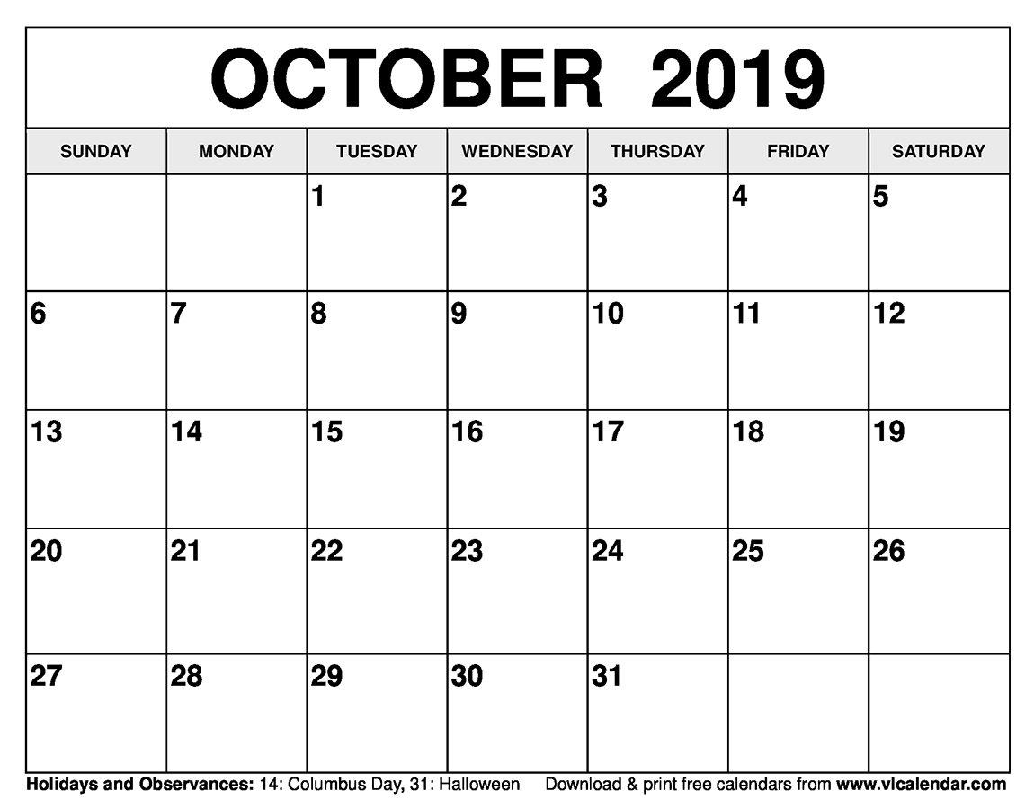 October Calendar 2019 Mon – Fri | Calendar Template Mon Fri Monthly Calendar Template