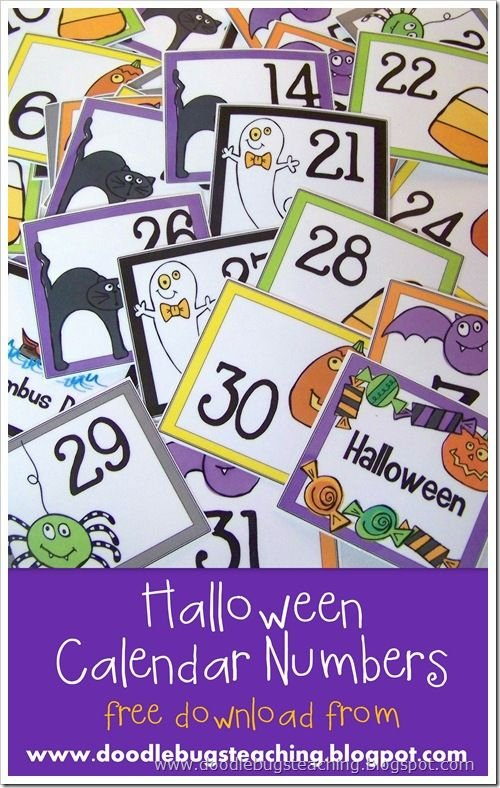 October Calendar Cards 1 31 {Free Download} Www Printable Numbers 1 31 Classroom Sets