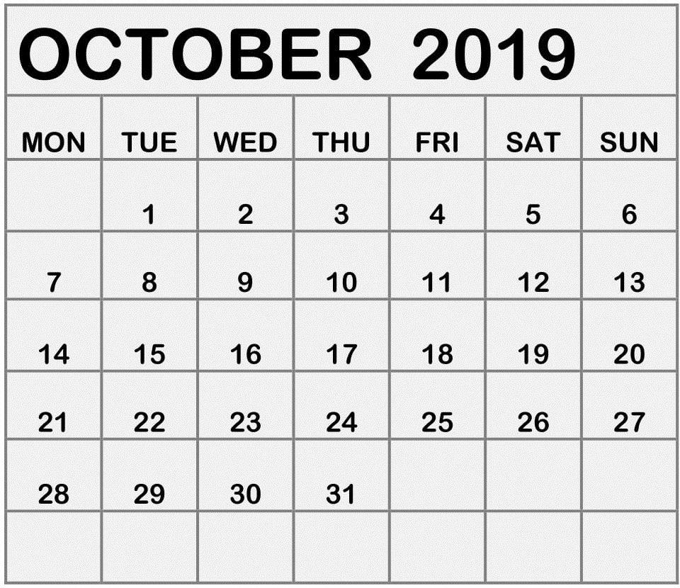 October Calendar Mon Fri | Calendar Template Printable Mon Fri Monthly Calendar Template
