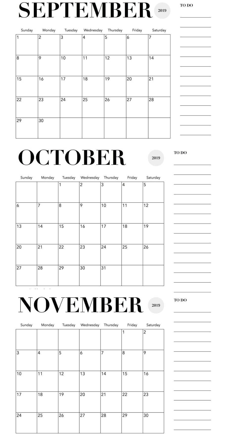 October November 2019 Calendar Printable Template Free Applications To Print 3Month Calendars