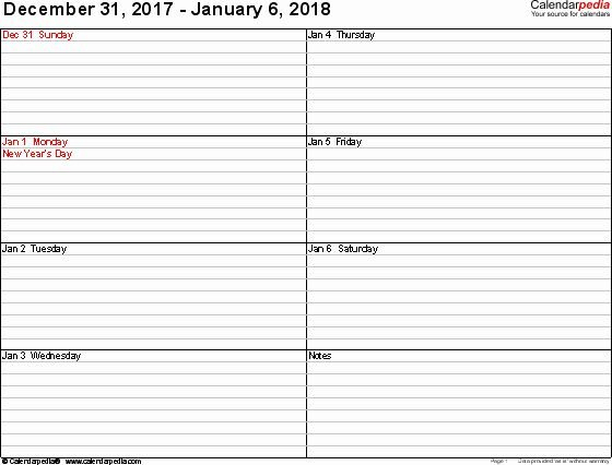 One Week Calendar With Hours Inspirational Weekly Calendar 1 Week Calendar Template Pdf