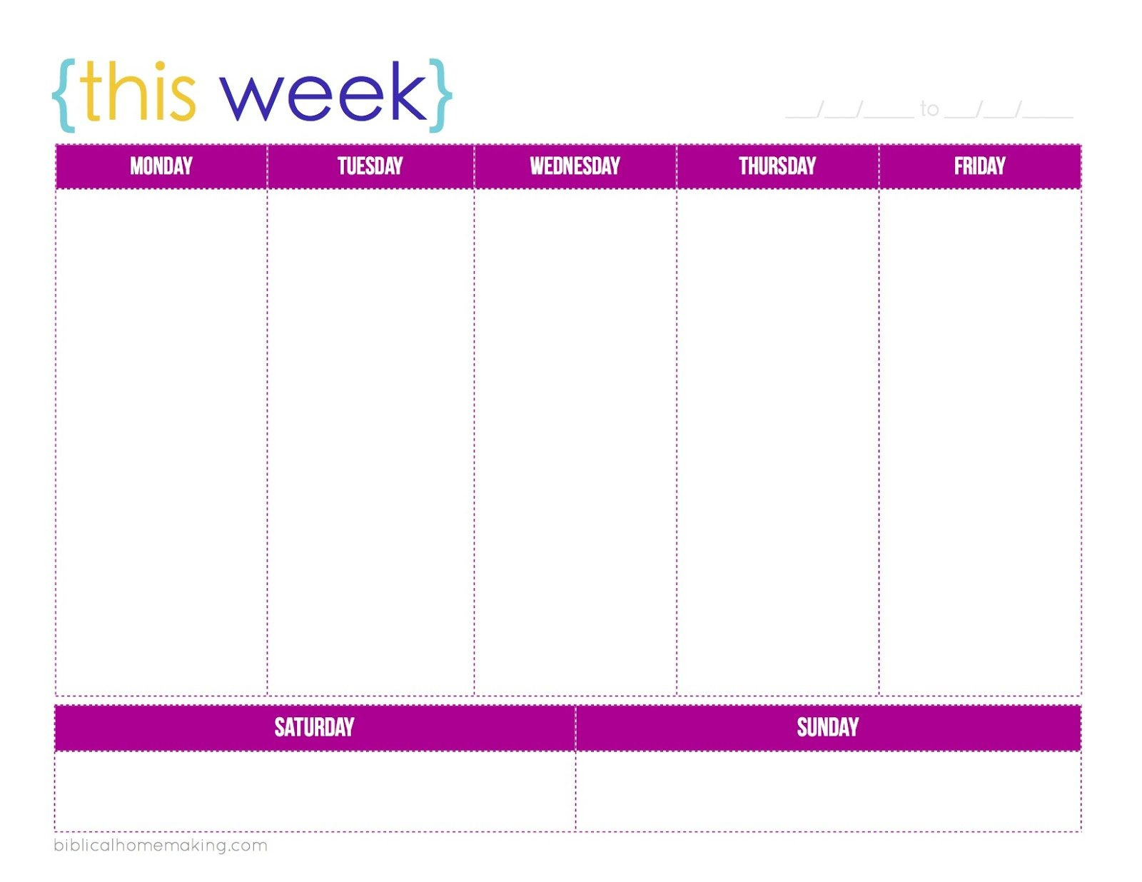 One Week Monday Through Friday Calendar Template   Example Monday To Friday Planner