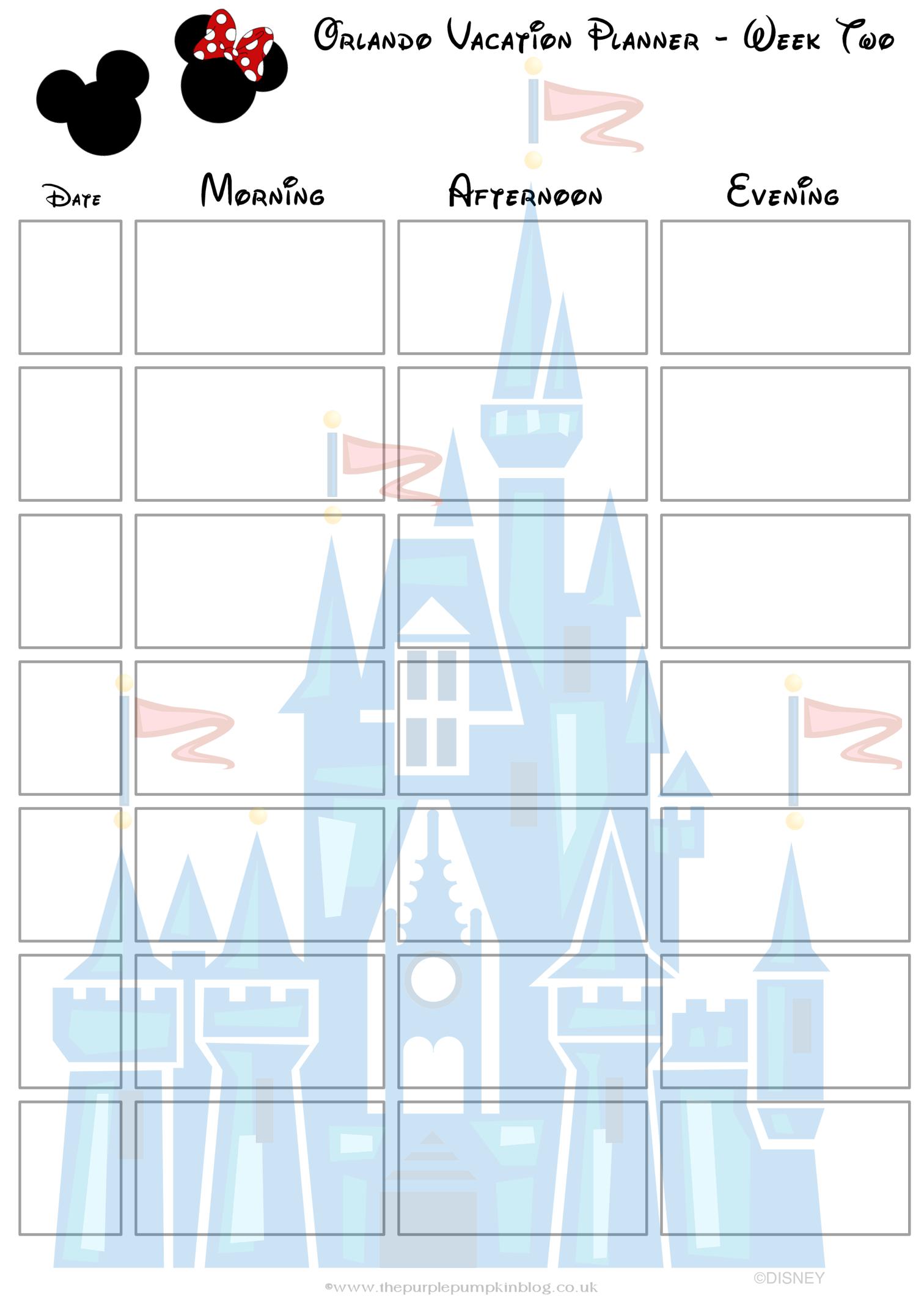 Orlando, Walt Disney World Vacation Planner   Free Printable 2 Week Planner Printable