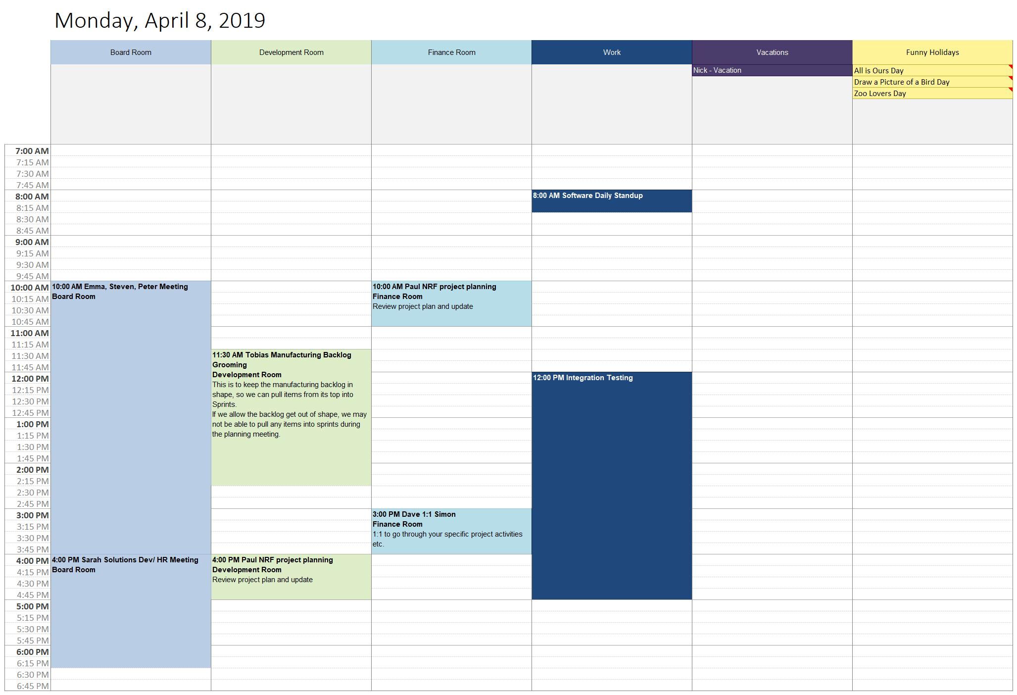 Outlook Daily Calendar Template | Daily Calendar Printable Outlook Schedule 2Week Print