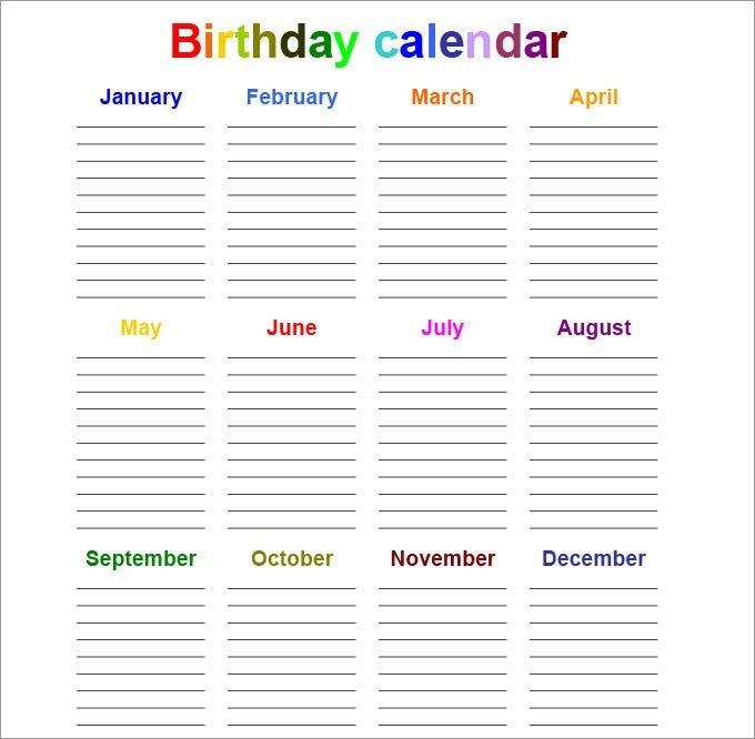 Perpetual Calendar – Calendar Template | Free & Premium Free Calendar Template For Birthdays