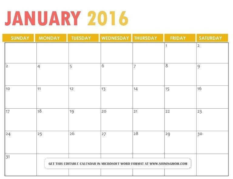Photo Free 2January 2016 Calendar Microsoft Word Orange 8 Week Calendar Doc