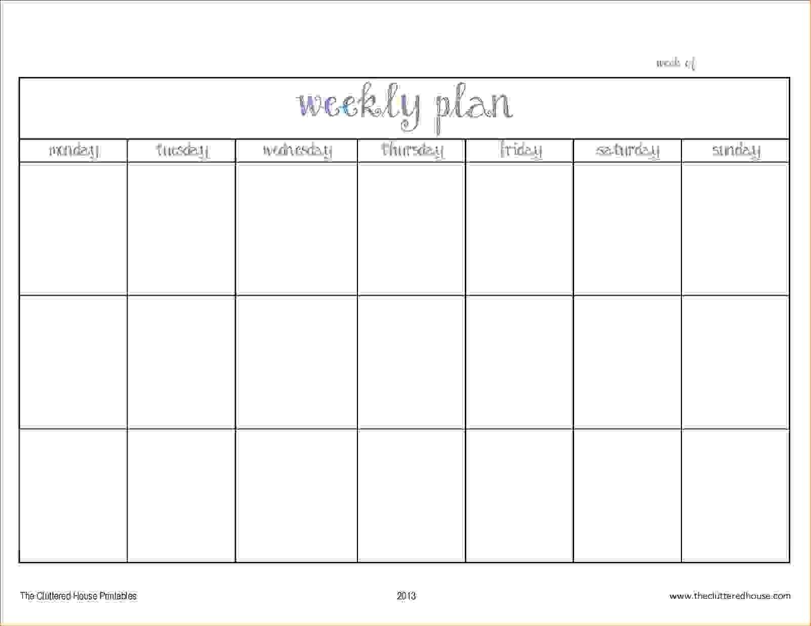 Pick Blank Two Week Schedule Template (With Images Blank 2 Week Schedule