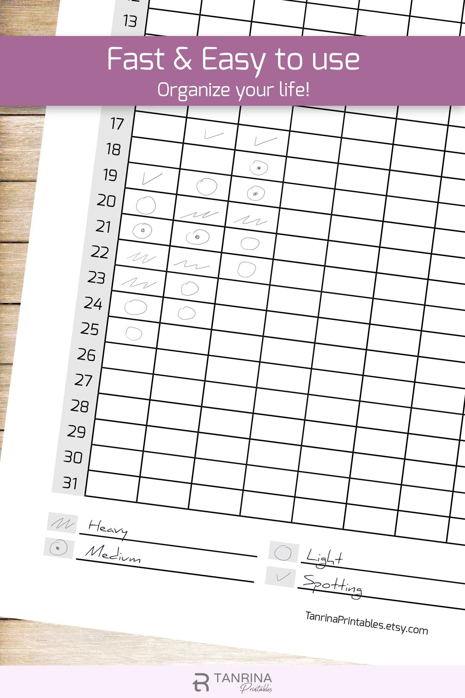 Pin On Fitness Planner Printable Menstrual Cycle Calendar Template