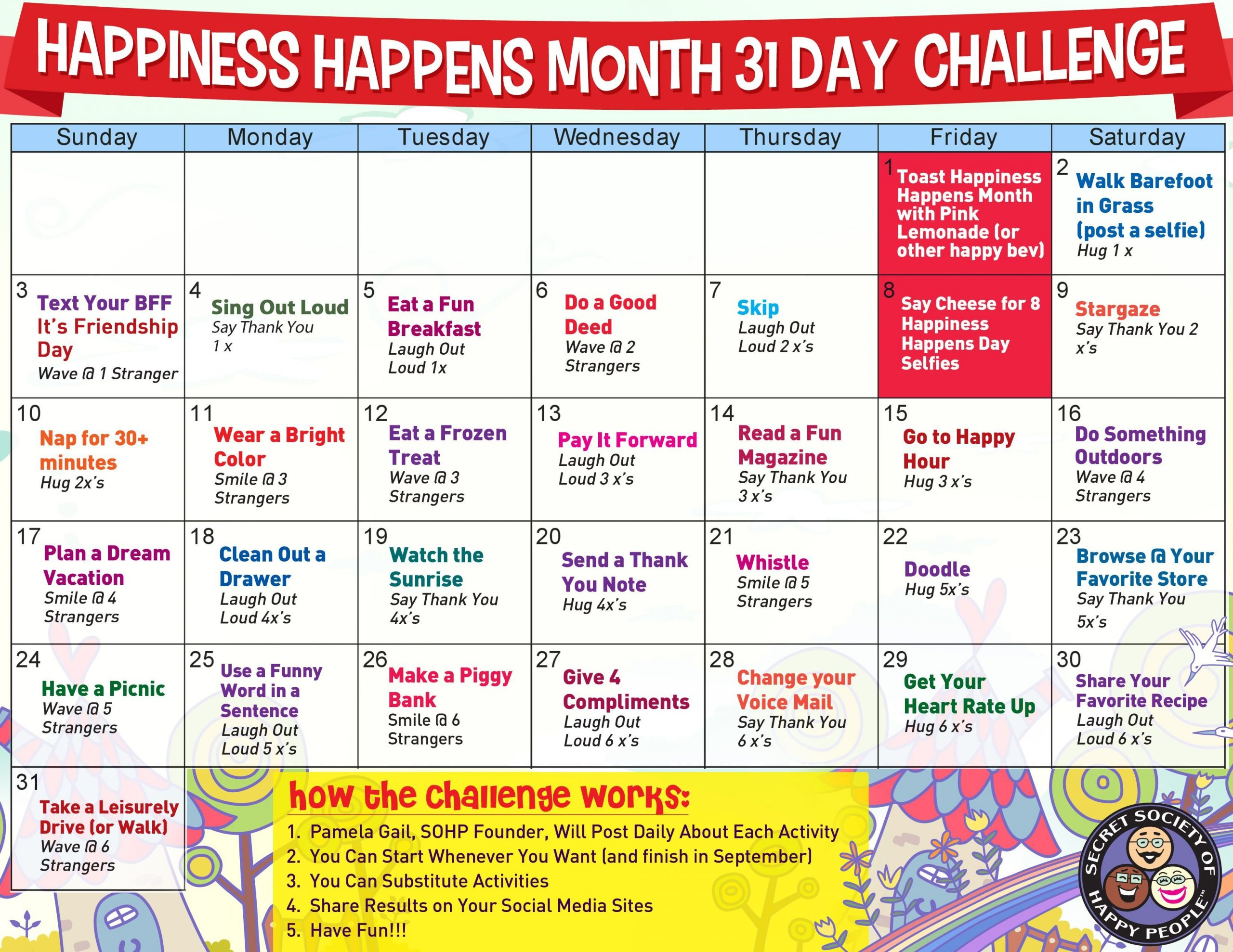 Pin On Happiness Month Blank 30 Day Caldner Challenge