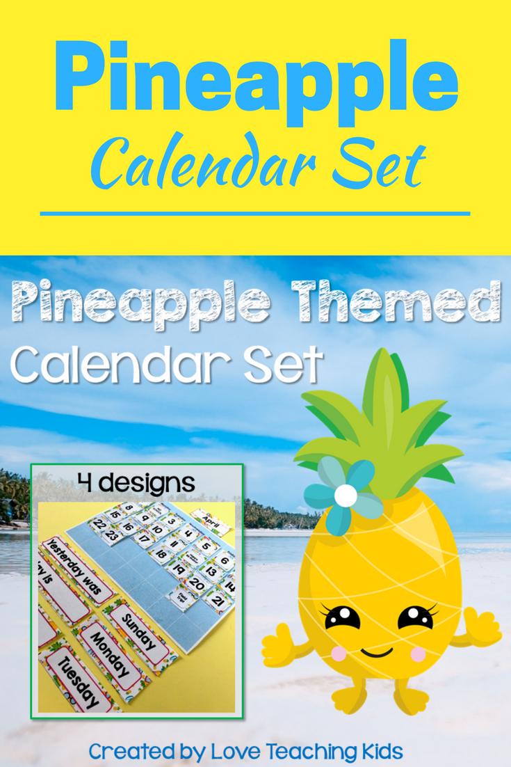 Pineapple Classroom Decor Calendar Set | Pineapple Printable Numbers 1 31 Classroom Sets