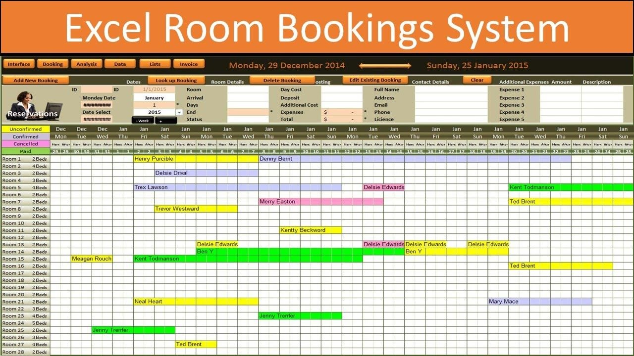 Pinfrrok Shyti On Kisha Nej | Schedule Template, Room Booking And Reservation Calendar Excel Template