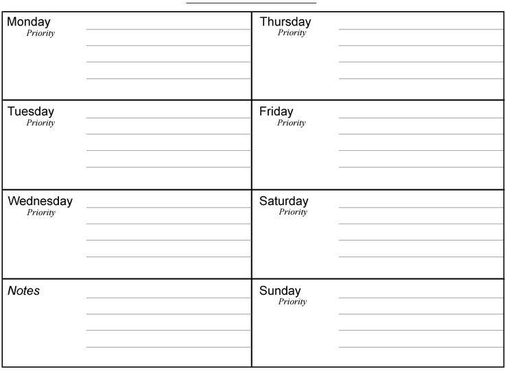 Planner | Free Printable Weekly Planners. . .Printable One Week Printable Calendar