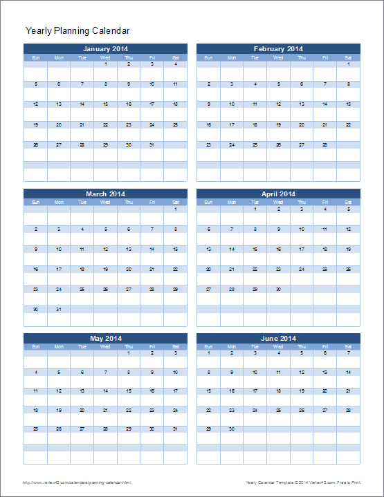 Planning Calendar Template – Yearly 5 Year Schedule Excel